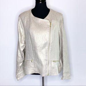 Chico's gold asymmetrical zip linen moto jacket size 3 or XL